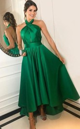 Satin Ankle-length A Line Sleeveless Casual Evening Dress with Ruffles