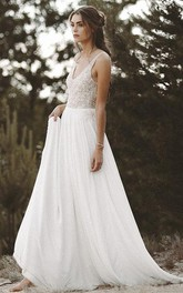 Chiffon Lace Brush Train A Line Sleeveless Bohemian Wedding Dress with Beading