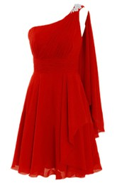 One-shoulder A-line Dress With Drapping and Appliques