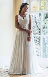 A-Line Floor-Length V-Neck Sleeveless Chiffon Court Train Ruching Dress