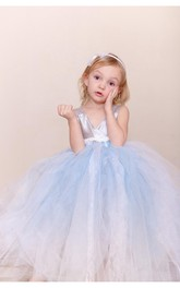 V Neck Empire Jewel Waist Tulle Ball Gown With Tiers and Bow