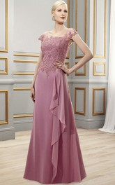 Cap-Sleeve Floor-Length Draped Square-Neck Satin Chiffon Formal Dress With Appliques