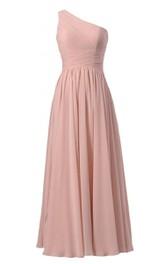 Simplistic Long One-shoulder Pleated Chiffon A-line Dress