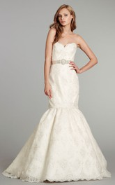 Alluring Strapless Embroidered Lace Dress With Crystal Beaded Belt