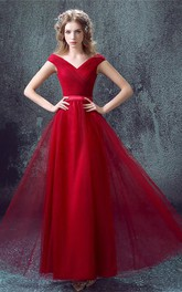 Newest Red Off-the-shoulder A-line Prom Dress 2018 Lace-up Floor-length