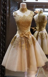 Gorgeous High Neck Sleeveless Golden Appliques Tulle Short Prom Dress