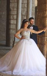 Glamorous Illusion Half Sleeve Tulle Wedding Dress Beadings Ball Gown