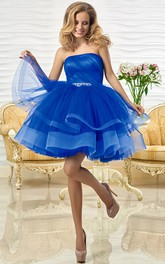 A-Line Short Sleeveless Tiered Strapless Tulle Prom Dress With Ruffles And Waist Jewellery