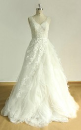 A-Line V-Neck Tulle Lace Satin Weddig Dress With Ruffles