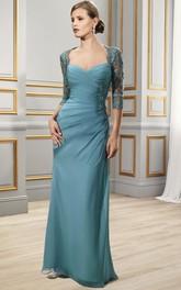 Sweetheart Half-Sleeve Floor-Length Criss-Cross Formal Dress With Appliques