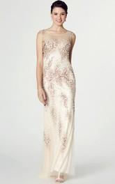 Sheath Scoop Neck Sleeveless Beaded Chiffon Prom Dress