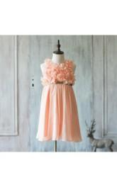 High Neck Flower Bodice A-line Chiffon Long Dress Pleated Skirt