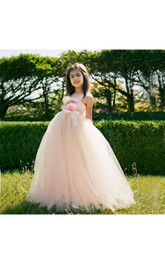 One-shoulder Empire Layered Tulle Ball Gown With Flowers and Sash