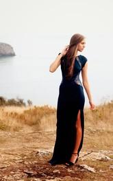 Modern Mermaid Front Split Lace Evening Dress 2018 Cap Sleeve