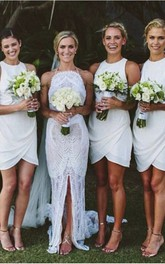 A-line Short Scoop Sleeveless Pleats Chiffon Dress