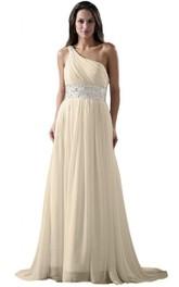 One-shoulder A-line Chiffon Dress With Sequiend Waist