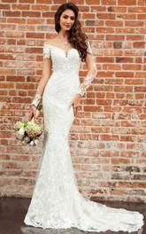 Sexy Bateau Mermaid Floor-length Court Train 3/4 Length Sleeve Wedding Dress With Appliques