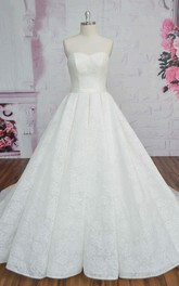 Sweetheart Lace Sleeveless Wedding Dress Ballgown With Sash And Ruching Lace-up Corset