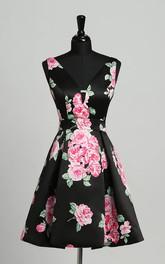 Sheath Sleeveless Short Mini Deep-V Back Sexy Elegant Satin Dress