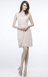 Short V-Neck Ruched Chiffon Bridesmaid Dress With Draping