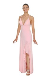 Halter Jersey Gown With Front Slit and Ruffles