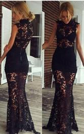Sexy Black High-Neck Prom Dresses Lace Sleeveless Sheer Skirt