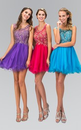 A-Line Short Scoop-Neck Sleeveless Tulle Dress With Ruffles And Beading