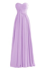 Elegant Sweetheart Ruched A-line Dress With Zipper Back
