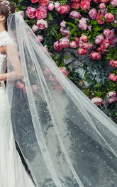 Fairy Long Tulle Bridal Veil With Pearl