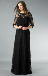 Sheath Floor-length High Neck Long Sleeve Lace Illusion Dress