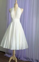 Halter Tea Length A-Line Chiffon Dress With Pleated Bodice