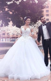 V-neck Ball Gown Floor-length Court Train Long Sleeve Tulle Wedding Dress with Zipper Illusion Back