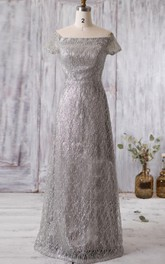 Off Shoulder A-line Lace Long Dress With Beadings