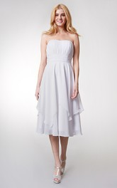 Strapless Empire Tea-length Layered Bridesmaid Dress