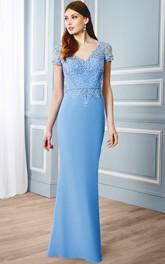 Sheath V-Neck Appliqued Cap Sleeve Chiffon Formal Dress