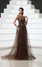 Backless Bateau Cap-Sleeved Tulle A-Line Gown With Embroidery and Sequins