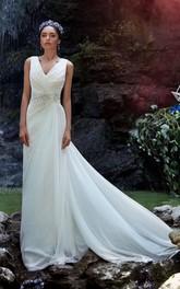 A-Line Long V-Neck Sleeveless Zipper Chiffon Dress With Beading And Ruching