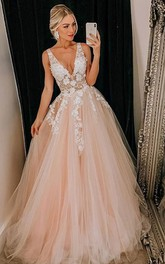 Tulle Floor-length Sweep Train A Line Sleeveless Simple Evening Dress with Flowers