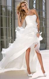 Strapless Asymmetrical Ruffled Satin Wedding Dress With Ruching