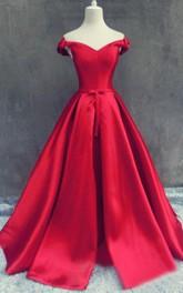 Elegant Off-the-shoulder Satin Dress With Lace Up Back