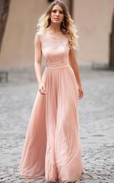 Chiffon Floor-length A Line Sleeveless Modest Prom Dress with Beading