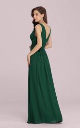 Casual Chiffon V-neck A Line Sleeveless Evening Dress With Ruffles