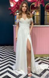 Chiffon Chapel Train Sheath Sleeveless Luxury Wedding Dress with Split Front