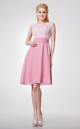 Bateau Neck Cap-sleeved Short Chiffon Dress With Lace Bodice