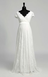 A Line Beach Cap Short Sleeve Maternity Wedding Dress