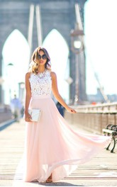 Sweeth Lace Long Sleeveless Prom Dresses 2018 Chiffon Floor Length