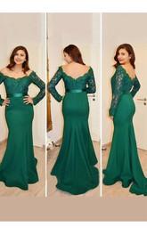 Mermaid Trumpet Satin Lace Off-the-shoulder Long Sleeve Zipper Low-V Back Dress