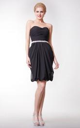 Sweetheart Chiffon Short Dress With Beaded Waist