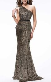 Shinning One-Shoulder Sequins Sweep Train Beading Floor-Length Evening Dress