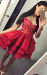 A-line Sleeveless Taffeta Lace Off-the-shoulder Open Back Short Mini Homecoming Dress